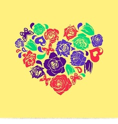 floral heart for valentines day vector image vector image