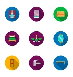 Furniture set icons in flat style big collection vector