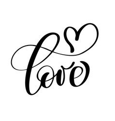 handwritten inscription love and heart happy vector image vector image