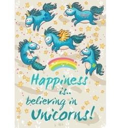 Happy card with cute unicorns cartoon vector