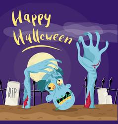 happy halloween poster with zombie in graveyard vector image vector image