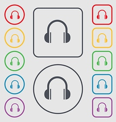 headphones icon sign symbol on the Round and vector image vector image