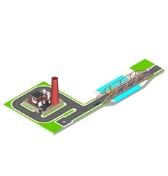 Isometric bridge with a road cars and factory vector