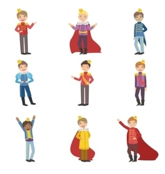 Little Boys Dressed As Fairy Tale Princes vector image