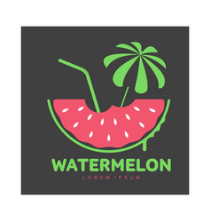 Logo template with watermelon beach umbrella and vector