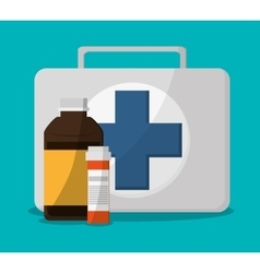 Medical kit and medical care design vector