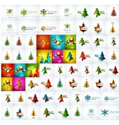 Mega collection of Christmas and winter design vector image vector image