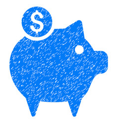Piggy bank icon grunge watermark vector