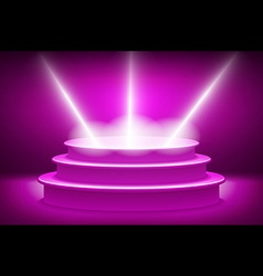 Purple lane with rays of spotlights Podium for the vector image vector image