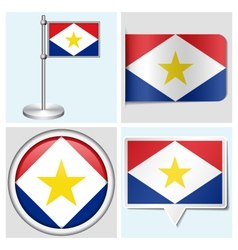 Saba flag - sticker button label flagstaff vector image