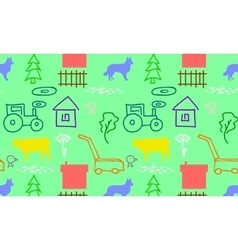 Seamless pattern with a farm vector