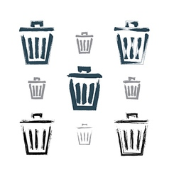 Set of hand-painted simple trash can icons vector image