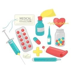 Set of medical paraphernalia in a cartoon style vector