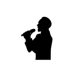 silhouette of singing man half length portrait vector image vector image