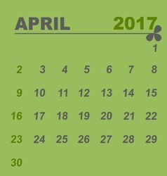 Simple calendar template of april 2017 vector image vector image