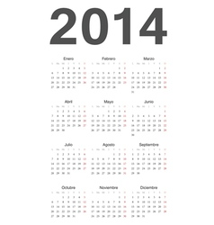 Spanish 2014 year calendar vector image