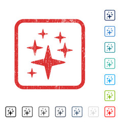 Sparkle stars icon rubber watermark vector