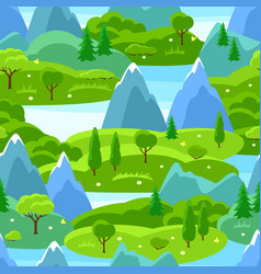 Summer seamless pattern with trees mountains and vector