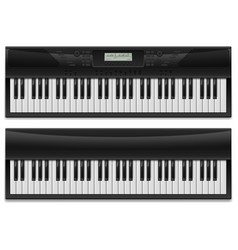 two realistic synthesizer of designer on white vector image vector image