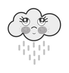White kawaii raining cloud thinking with cute eyes vector