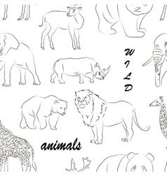 Wild animals set pattern vector