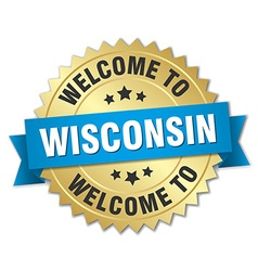 Wisconsin 3d gold badge with blue ribbon vector