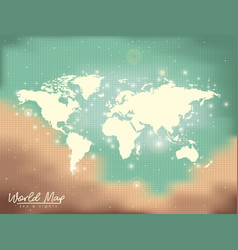 world map sky and lights in sand color to green vector image