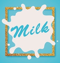 Milk label lettering milk on a blue background vector