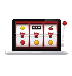 Abstract image of laptop casino slot machine vector