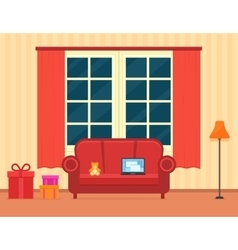 Room interior with holiday gift vector