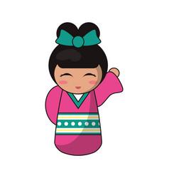 cute kokeshi doll tradition japanese vector image