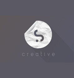 S letter logo with crumpled and torn wrapping vector