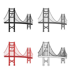 Golden gate bridge icon in cartoon style isolated vector