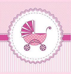 Label stroller pink vector