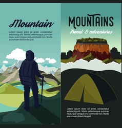 Nature mountain adventure vertical banners vector