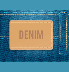 Leather label on blue denim fabric vector