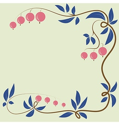 Floral berry background with berries and leaves vector