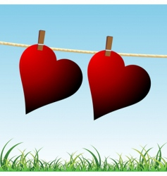 hearts on rope vector image