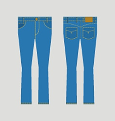 Jeans front and back view vector