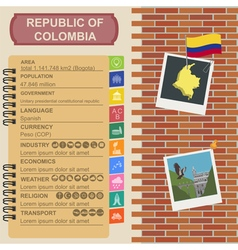 Colombia infographics statistical data sights vector
