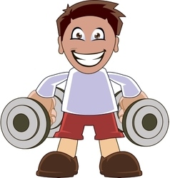 Funny man lifting dumbbells vector