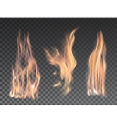Set of realistic fire flames on transparent vector