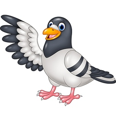 Cartoon funny pigeon bird presenting isolated vector