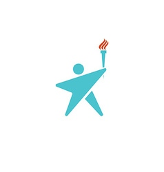Leader human logo torch fire man silhouette shaped vector