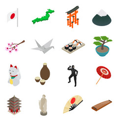 Japan isometric 3d icons vector