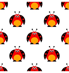 Seamless pattern with cute comic ladybugs vector