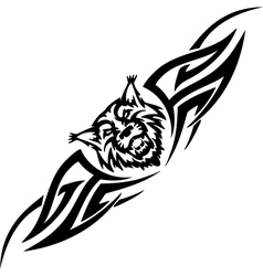 lynx and symmetric tribals - vector image