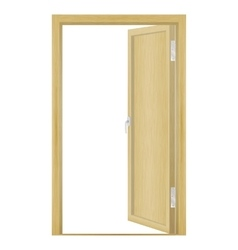 Open wood door vector