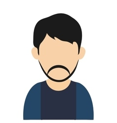 Man with black hair and beard avatar icon vector