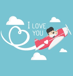 Airplane flying in the sky draw white I love You vector image